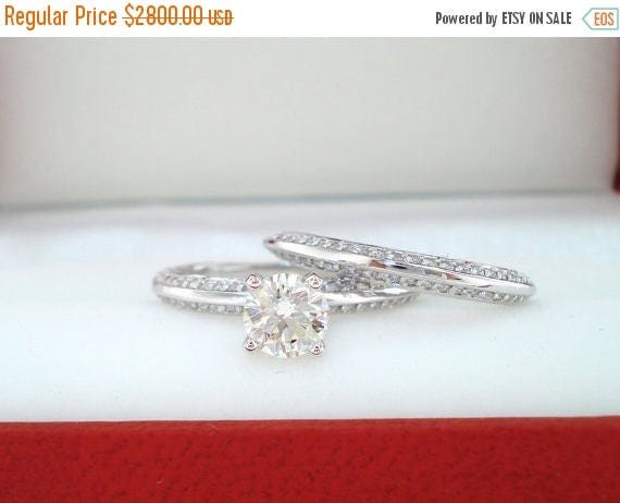 ON SALE Diamond Engagement Ring Wedding Band Sets 1.04 Carat 14K White Gold Handmade Micro Pave Set