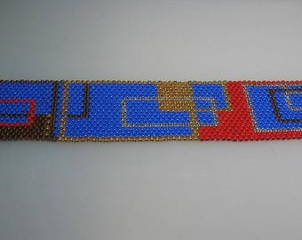Hand Stitched Multicolor Glass Seed Bead Peyote Cuff Bracelet One of a Kind