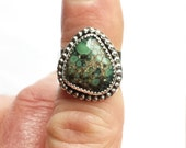 Poseidon Variscite Sterling Silver Statement Ring Size 7 1/2 Wide Band