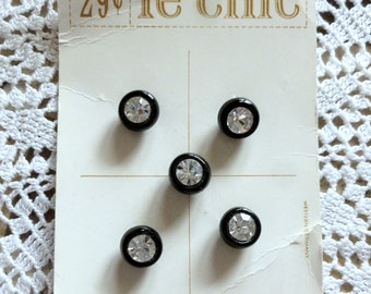 Vintage Buttons, Black Buttons with Rhinestones, Small, Clear Stones, Still on Card, Never Used, Le Chic Buttons, Button Jewelry, Stones