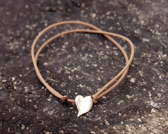 Silver Heart Bracelet, Heart Bracelet, Love bracelet, Adjustable bracelet, Cord bracelet