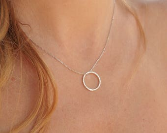 Circle Necklace, Simple Gold Necklace, Small circle necklace, Open Circle Necklace, Karma Necklace, Eternity Ring