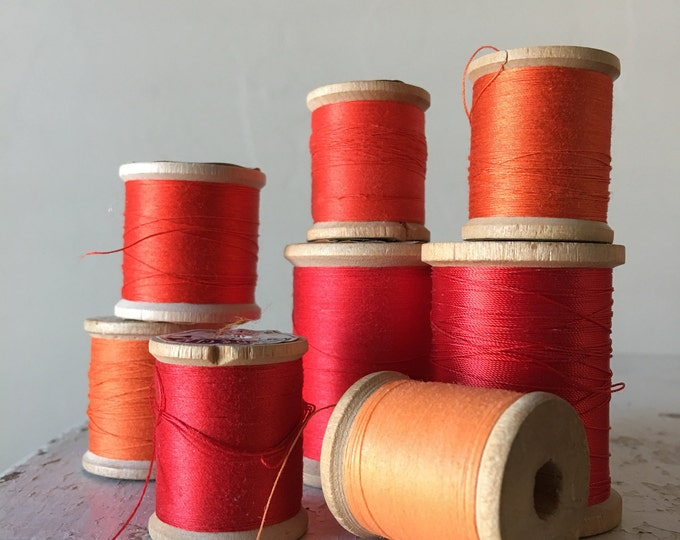 Vintage Wooden Spools Orange Red Summer Sunset Thread Lot
