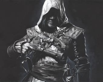 Assassin's Creed Black Flag Charcoal Signed Artist Print