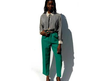 Emerald green high waist high rise tapered dress trousers w/ matching belt 1990s 90s VINTAGE