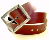 Mens Leather Belt Whiskey Brown San Filippo Leather Signature Belt Removable Buckle Brass or Nickel