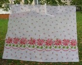 Vintage Sheer Poinsettia Fabric, Almost 1 Yard, 1950s