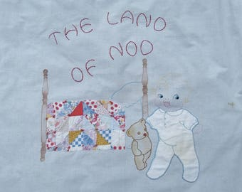 Vintage Embroidered Land of Nod Quilt Top, As-Is