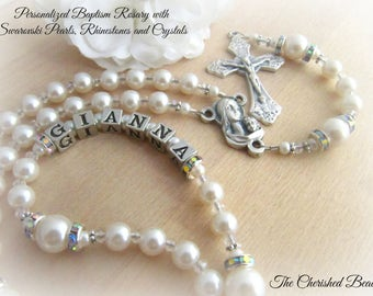 Baby Girl Baptism Rosary Personalized with Silver Letters and Swarovski® White Pearls - Heirloom Quality