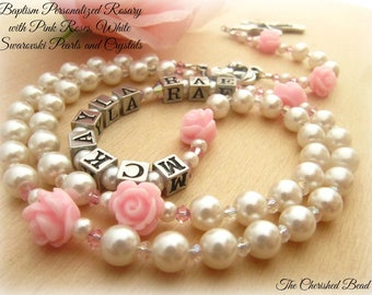 Baptism Personalized Rosary with Pink Roses, Swarovski White Pearls and Pink Crystals