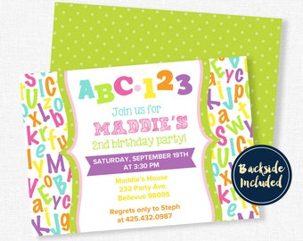 ABC Birthday Invitation, Alphabet Birthday Invitation, First Birthday Party, Girl's Alphabet Theme, ABC123