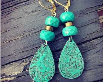 Verdigris Drops And Turquoise Earrings