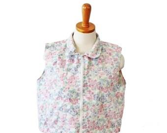 sale // Vintage 90s Sleeveless Crop Vest Flower Denim Top - Women Large Jeans Wear