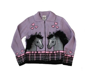 50% half off sale // Vintage 80s Horse and Heart Purple Cardigan Sweater - Rod's 10 12 - Childrens, Girls, Made in America