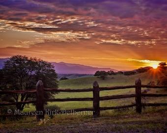 sunrise photo, large print, 16 x 24, 20 x 30, orange red sunrise, New Mexico sunrise, southwestern art, ranch landscape, mountain sunrise