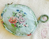 Vintage 1930s purse/French Blue/Floral Print/Coin Purse/Damask embroidery