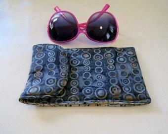 Gray Circles Batik Sunglasses Case