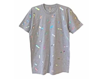 Holographic Confetti T-shirt | Iridescent Hologram Shimmer Tee Shirt Top | Grey Tonal Gray Mirror Unisex | Rave EDM Aesthetic Clothing