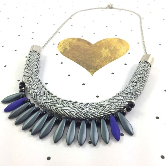 Ajustable, magnet, necklace, short or long, on chain with blue blackgrey beads and on gray braided polyester cord