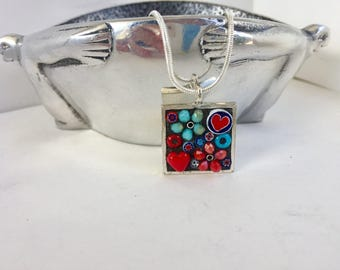 Micromosaic Necklace, Teacher Appreciation, Flower-girl pendant, Mosaic Jewelry, Red and Blue, Dainty flower pendant, Little girl jewelry