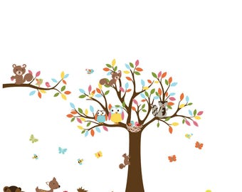 Nursery wall decals - Blowing Tree with flowers and birds flower tree vinyl wall decal