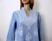 Vintage 1970s Dashiki Top Light Blue Chambray Bell Sleeves White Tribal Embroidered Pullover Shirt / Small