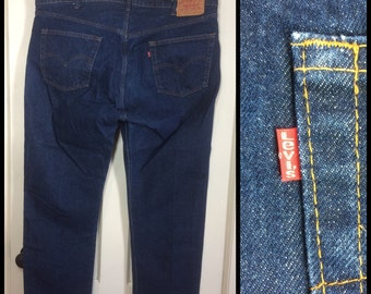 Vintage Levi's 505 Straight Leg Blue Jeans 46X30, measured 46x31.5 1980's made in USA 46 inch Waist dark wash barely used denim #269
