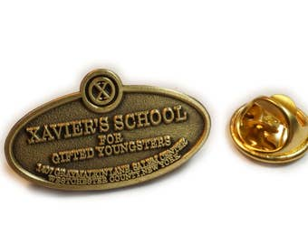 XMEN Xavier's School for Gifted Youngsters Entrance Plaque X-Men Hat Jacket Tie Tack Lapel Pin