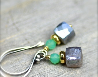 Simple Gemstone Stacks.. Mystic Labradorite and Chrysoprase Gemstone Earrings with Gold Filled and Sterling Silver