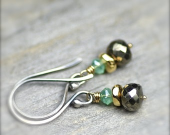 Simple Gemstone Stacks.. Pyrite and Mystic Quartz Gemstone Earrings with Gold Filled and Sterling Silver