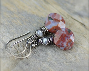 SALE.. Ocean Jasper Gemstone Earrings with Sterling Silver. Wire Wrapped Jasper Earrings. Simple Jasper Earrings