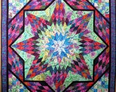 Quilted Kaffe Fassett Star Extravaganza Couch Throw Tablecloth Bed Topper Rainbow colors floral prints