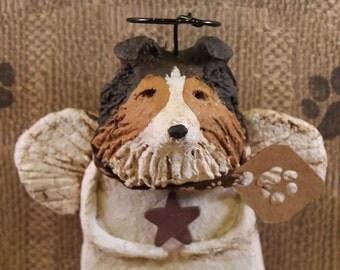 Sheltie Angel, OOAK, hand-sculpted from  papier mache, Sheltie Dog Angel