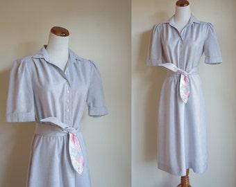Vintage Grey Dress, 1980s Dress, Short Sleeve Dress, 80s Shirtwaist Dress, Leslie Fay Dress, Collared Dress, Slate Grey Dress, Medium Large