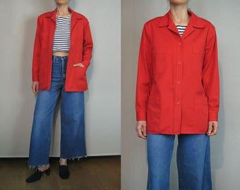 Red Cotton Utility Jacket / Military Style Jacket / Light Cotton Jacket
