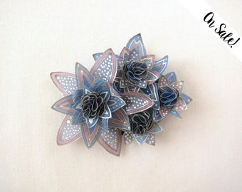 Blue stars brooch - blue, grey and mauve hand painted silk brooch ***Item on sale*** Previous price : 33 EUR