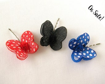 Three silk butterflies hair pins - black, red and blue - hand painted silk bobby pins - ***Item on sale*** Previous price : 27 EUR