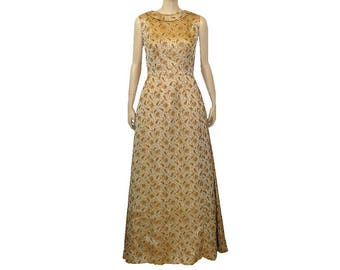 L/Tall, Brocade Beauty, Metallic 1960's Vintage Formal Evening Gown, Sleeveless Dress, Large