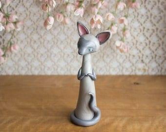 Blue Point Siamese Cat Sculpture by Bonjour Poupette