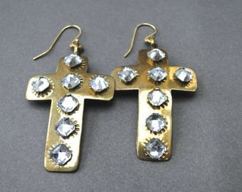 Earrings / Steampunk Rhinestone Earrings / Gift for Her / Graduation Gift / Accessories / Cross and Rhinestone Earrings