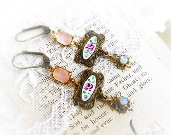 French Rose, Vintage Etched Pink Rose Enamel, Vintage Opals,Frosted Rose Pink Rhinestones,Altered Assemblage Earrings, Hollywood Hil