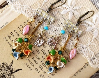 On Sale Unlocked Secrets, Vintage 1940s Austrian Enamel Flowers ,Pink Rhinestone,Lock & Key Vintage Assemblage Earrings by Hollywood Hillbil