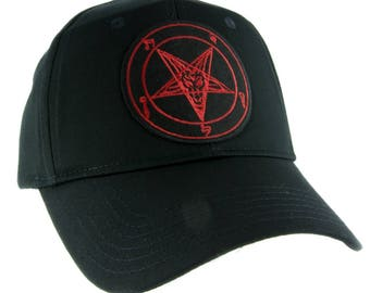 Red Sabbatic Baphomet Goat Head Hat Baseball Cap Occult Clothing Satanic Ritual - YDS-EMPA-REDBAPH-Cap