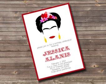 frida kahlo inspired birthday invitation