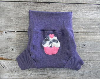 Upcycled Merino Wool Soaker Cover Diaper Cover With Added Doubler Purple With Cupcake Applique LARGE 12-24M Kidsgogreen