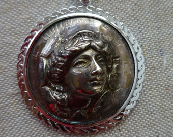 Antique Lady Liberty 1923 Punch Out Pop Up Coin Pendant - Art Nouveau Repousse Details