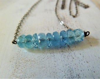 Blue Aquamarine bar necklace. Gold or Silver. March birthstone. Minimalist. Birthstone jewelry. Aquamarine birthstone. Pisces. Aquamarine