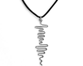 Mens Necklace Personalized, Sound Wave Pendant, Mens Personalized Message Necklace, 3rd Anniversary, Music Gifts for Men, Soundwave Jewelry