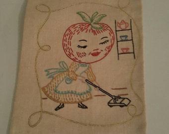 Vintage linen tea towel embroidered vegetable - anthropomorphic kitchen fruit tomato