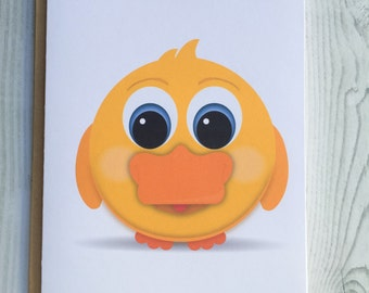 Lil' Yellow Duck Card, Invitation, Blank Card, Greeting Card, All Occasion Card